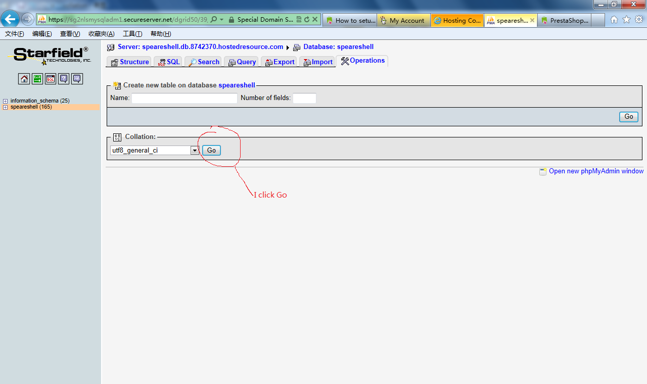 How to setup Godaddy database to import csv file with a different