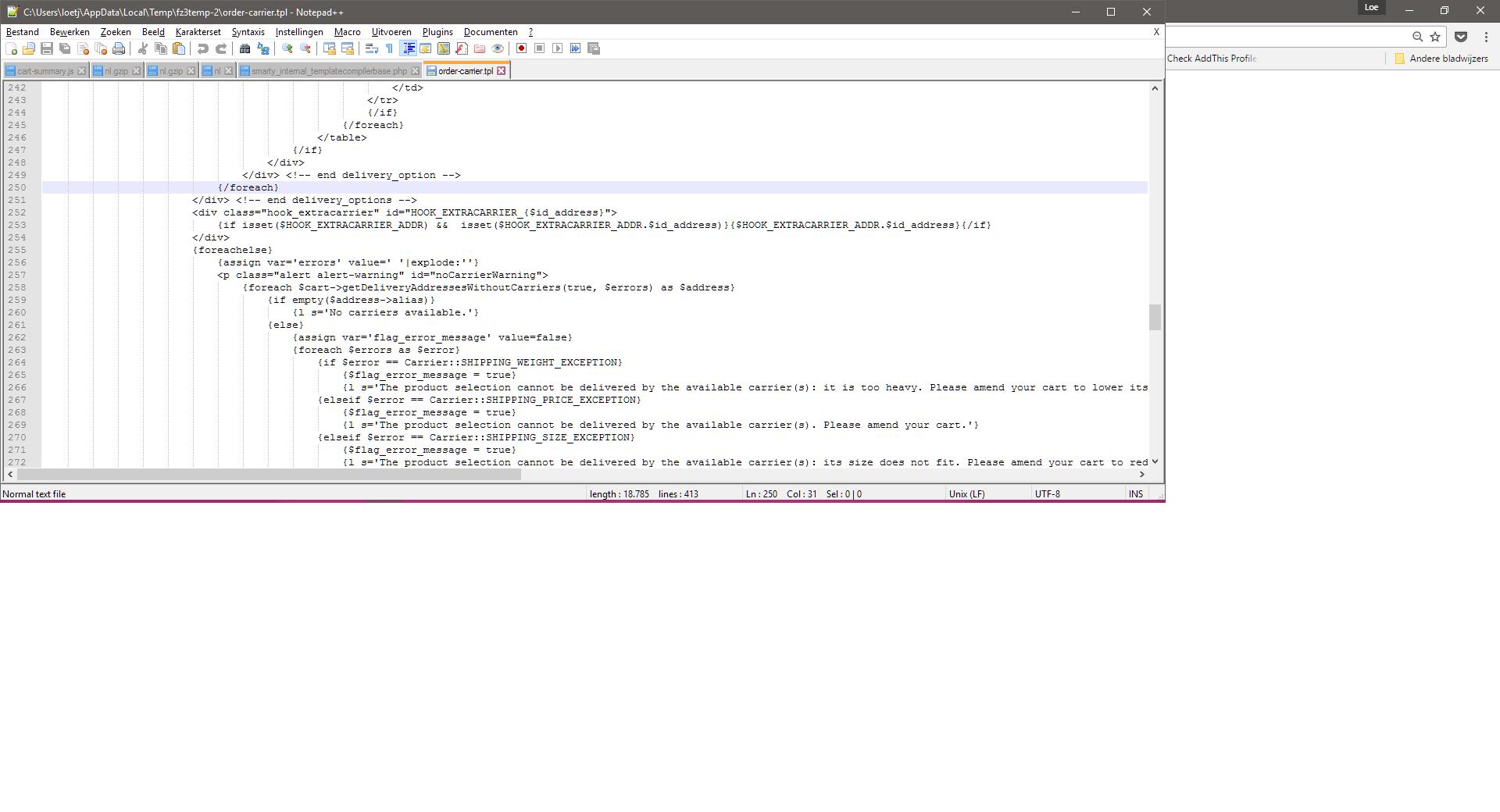 Fatal error: Uncaught --> Smarty Compiler: Syntax error in template