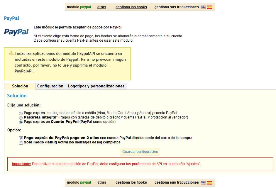 Problema Módulo Paypal 1.4.8.2 - Solucionado - PrestaShop Download ...