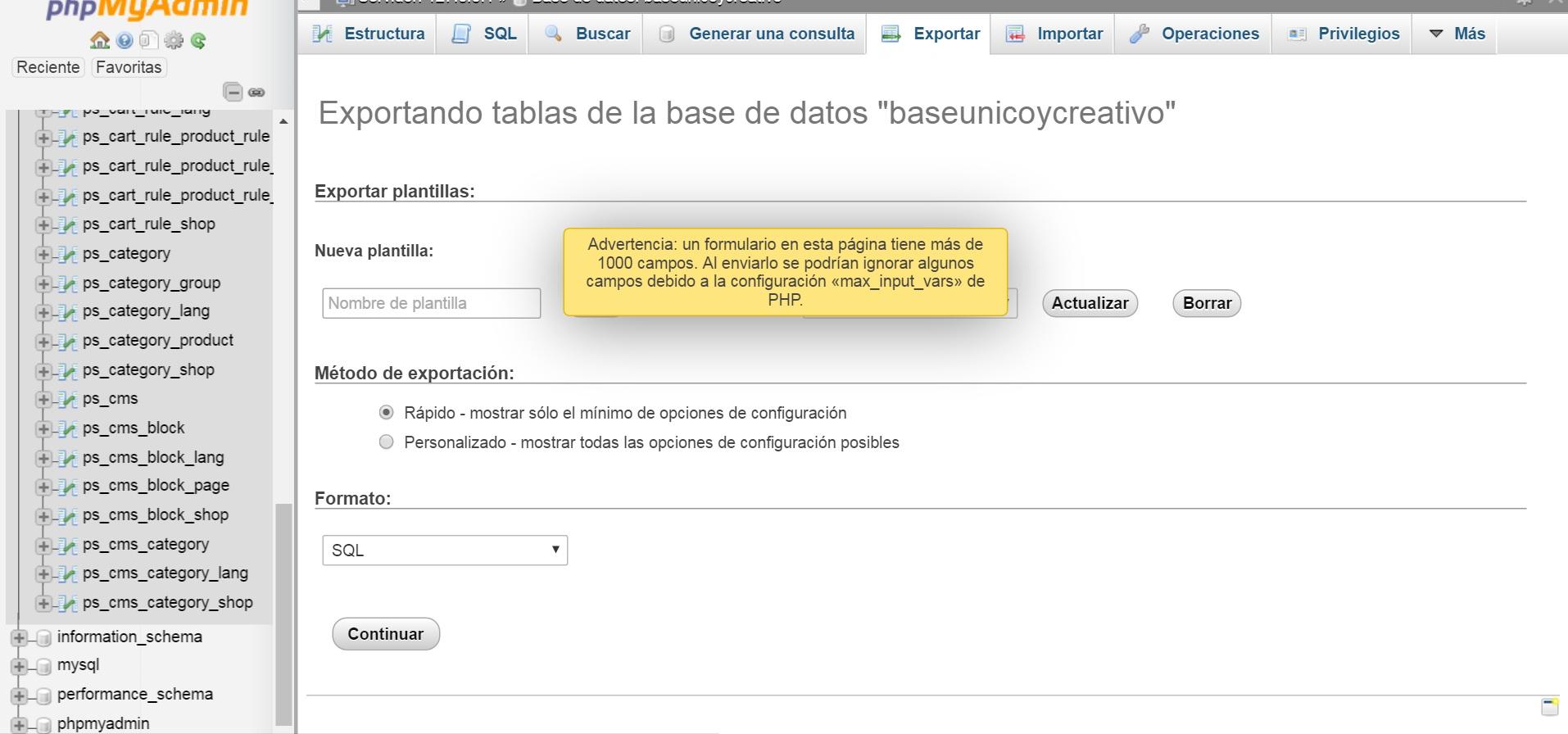 Error al exportar la base de datos para subir al hosting ...