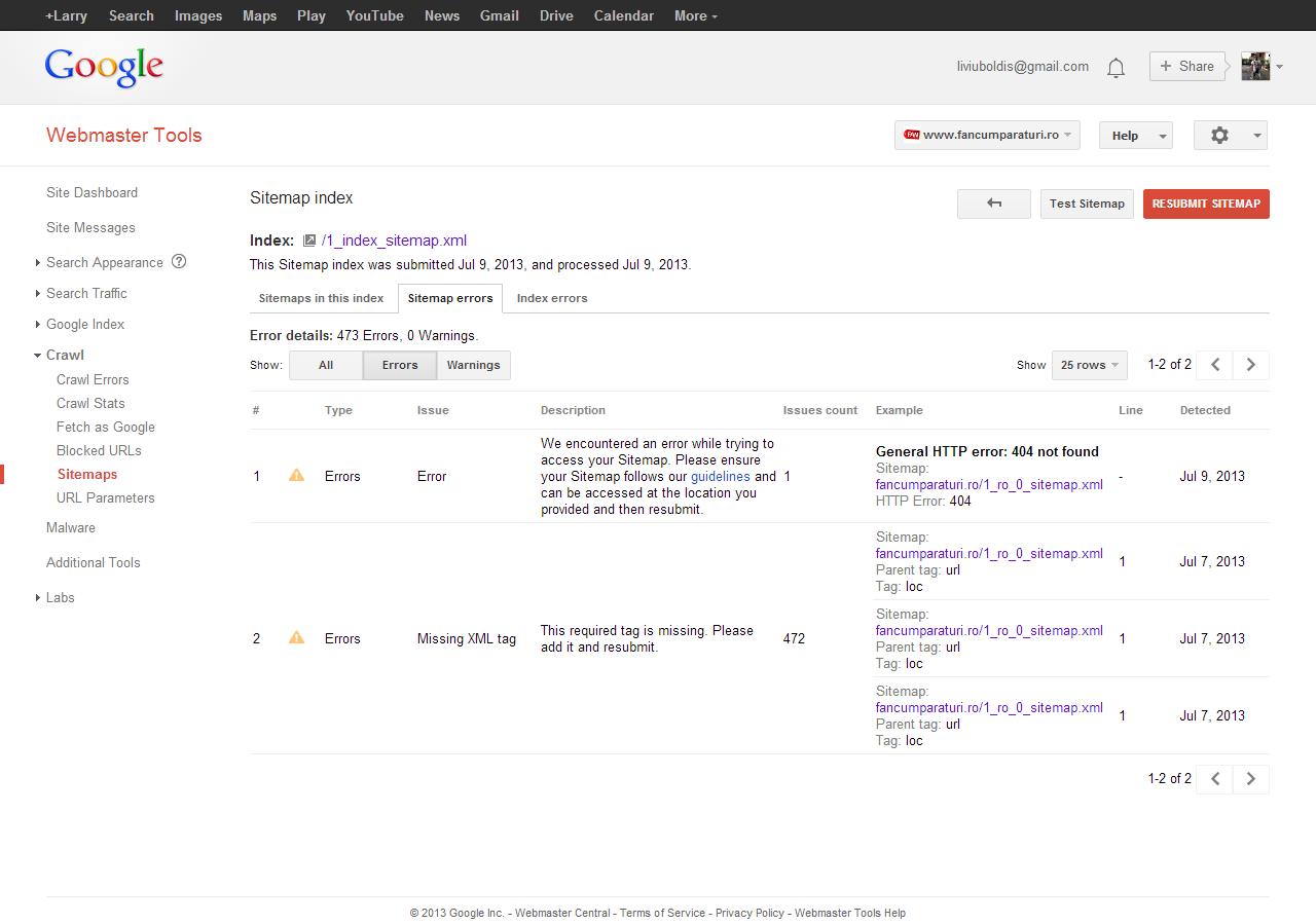 google sitemap errors ecommerce x prestashop archive board