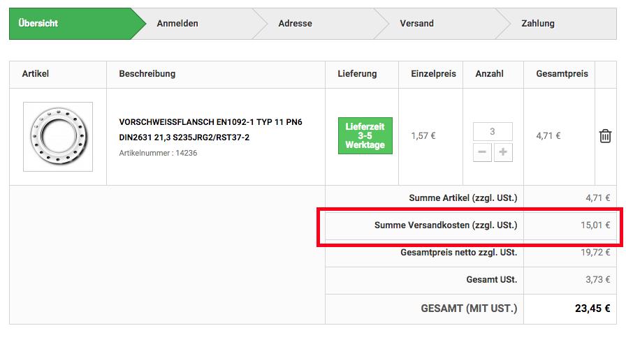 Versandkosten Anzeige Netto Zzgl. Steuer Liefert Falschen