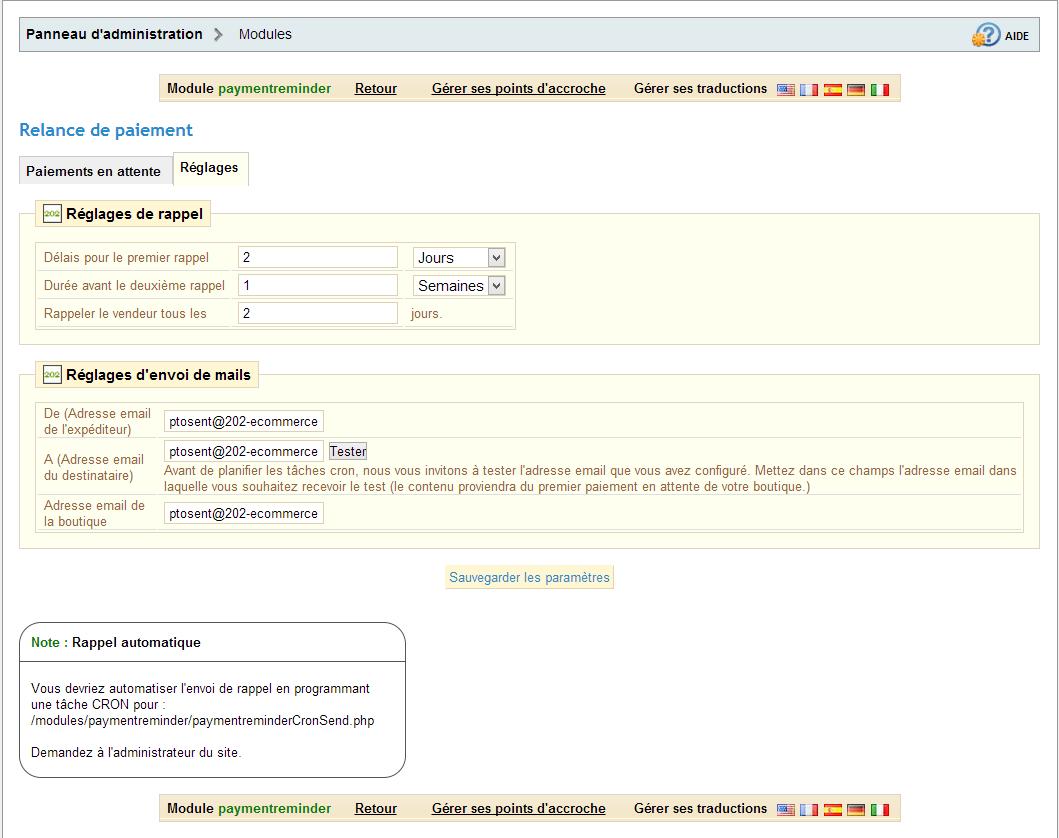 module  relance de paiement - appels d u0026 39 offres et prestations