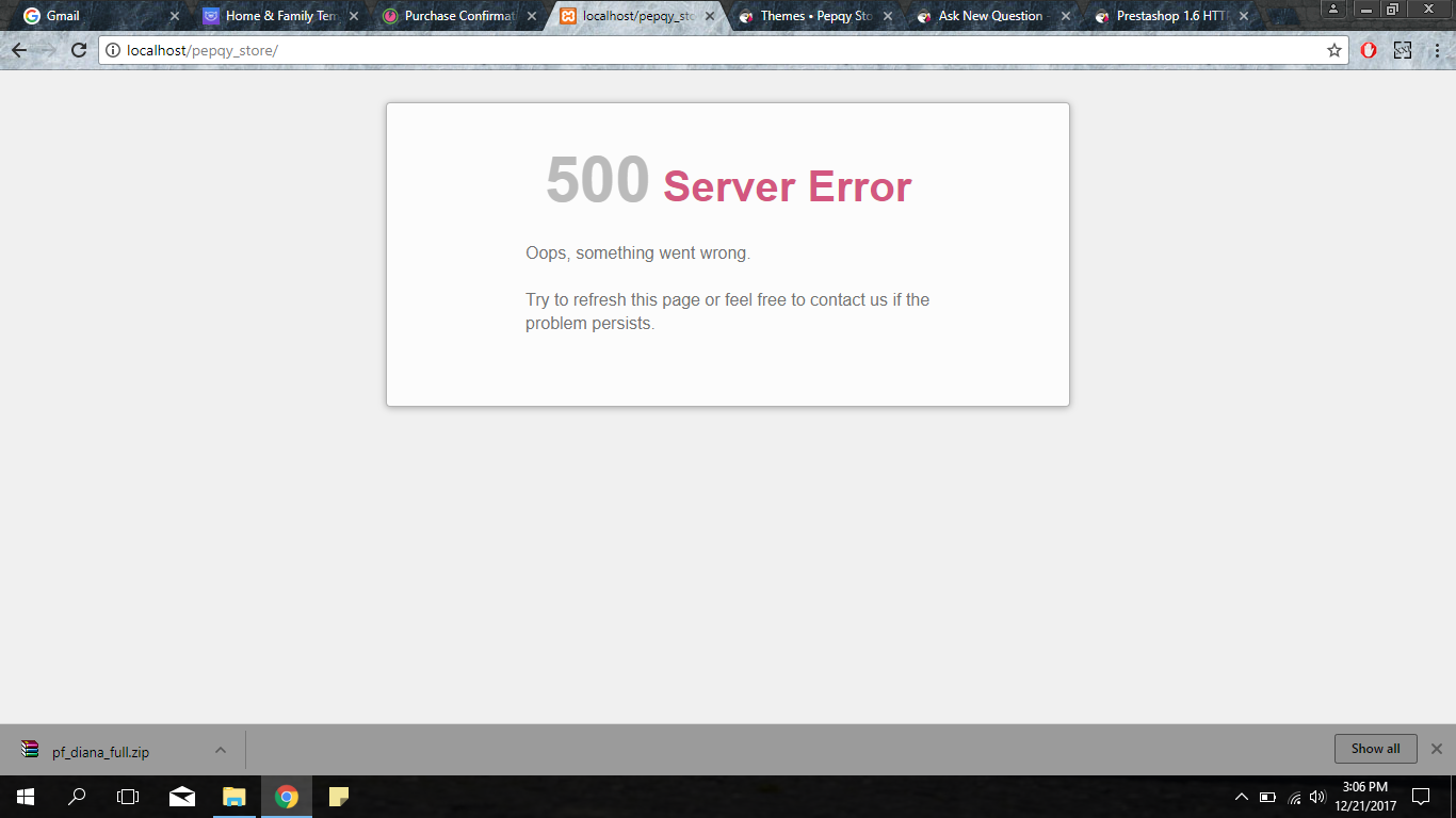 500 Server Error After change themes in back office - Addons