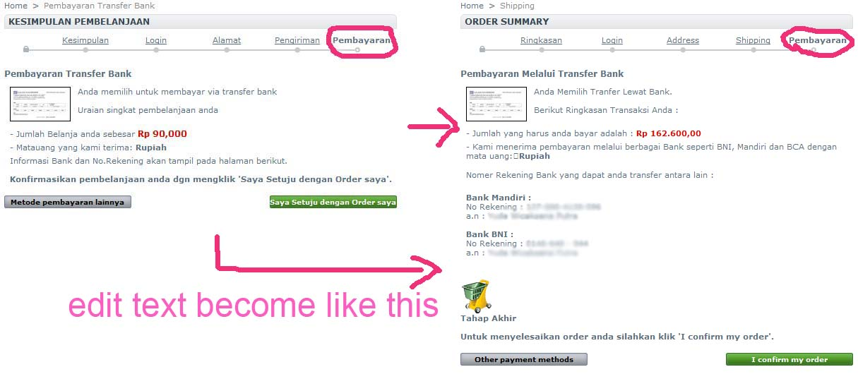 cara edit text pada step order bagian pengiriman dan